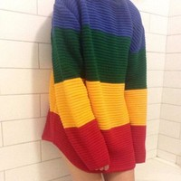 Rainbow striped knit sweater