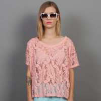 HOLIDAY SALE - Pastel Sweet Pink Lace Short Sleeves Top
