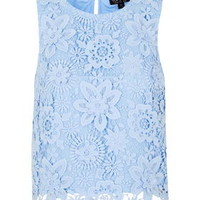 3D Lace Shell Top - Ice Blue