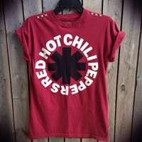 Red Hot Chili Peppers studded t shirt ladies size medium