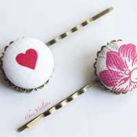 2 hair pin Barrette Red heart French toile hair clips button bobby pins Fabric hair Jewelry Floral Spring hairstyles country