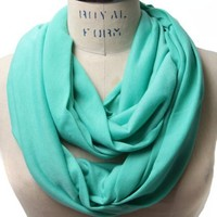 Scarfand's Super Soft Light Weight Solid Color Infinity Loop Scarf (Mint Blue)