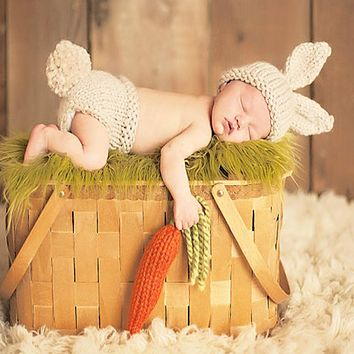Baby Photo Props born Photography Props Crochet Knitting Baby Bunny Costumes Set Rabbit Hats and Diaper Beanies and Pants