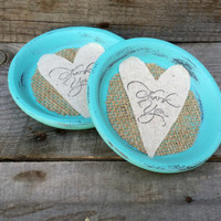 Something Blue Thank You Terra Cotta Coaster Set of 4, Shabby Chic Wedding Favor, Rustic Wedding Favor, Thank You Favor, Baby Shower Favor,