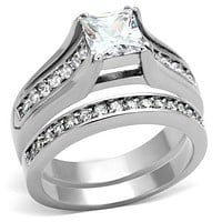 Pandora Rings TK969 Stainless Steel Ring with AAA Grade CZ