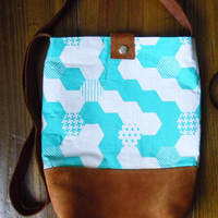 Small Messenger Bag/ Suede Leather, Turquoise Designer Geometric Fabric, and Linen/ Shoulder Bag/ Summer Purse/ Cross body bag/ Bucket Bag