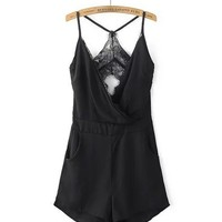 Casual Y-Back Spaghetti Strap Pocket Back Hole Solid Romper In Black
