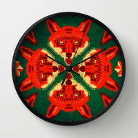 Fox Cross geometric pattern Wall Clock by chobopop