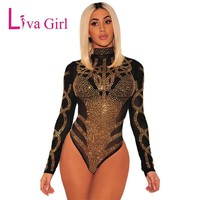 Liva Girl Black Sexy Mesh Rhinestone Bodysuit Women Rompers Summer Elegant Playsuit Bodycon Jumpsuit Womens Long Sleeve Clothing