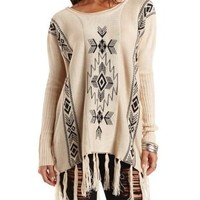 Aztec Fringe Poncho Sweater by Charlotte Russe - Ivory Combo