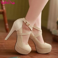 Pumps Sexy High Heeled Shoes Thin Heels Round Toe Platform Shoes Size 32-43