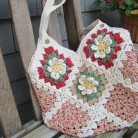 Crochet Handbag/Tote with Floral Motifs - Perfect for the Holiday Season by CROriginals