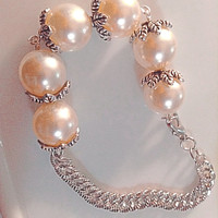 Capped Pearl Bead With Chain Fancy Handmade Bracelet