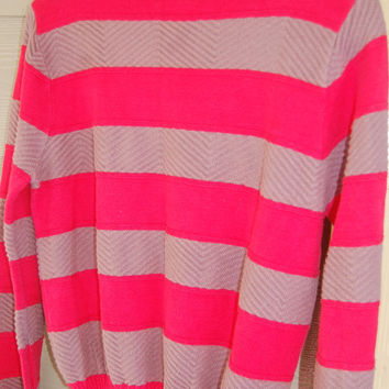 Vintage 80s Izod for Her Mushroom and Red Rugby Striped Boatneck Sweater Size L
