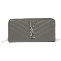 Saint Laurent - Quilted textured-leather wallet