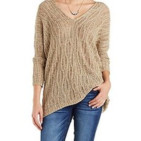 CABLE KNIT LACE-UP SWEATER