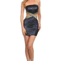Gold X Band Bodycon Strapless Dress - Blue