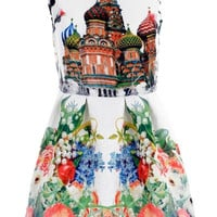 Castle Print Sleeveless Dress with Floral Print Skirt