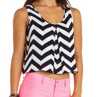 Chevron Print Chiffon Swing Crop Top by Charlotte Russe - Black Combo