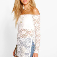Strapless Lace White Shirt