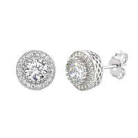 Sterling Silver Halo Cubic Zirconia Circle Stud Earrings Micropave 10mm