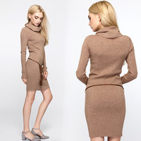 2016 new women  winter and autumn dress female  brief casual pencil bodycon knitted sweater dresses vestidos high quality