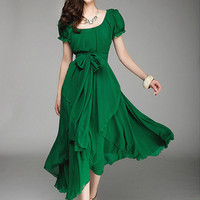 Puff Sleeve Chiffon A-Line Maxi Dress with Bow Belt