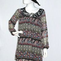 Folk Song Black Paisley Lace Back Peasant Dress