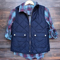 Final Sale - City Strut Quilted Puffer Vest - Navy
