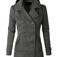 Classic Wool Double Breasted Pea Coat Jacket With Hoodie- Dark Heather Grey
