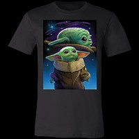 Double Baby Yoda Starry Night Portrait 3001C Bella + Canvas Unisex Jersey Short-Sleeve T-Shirt