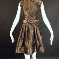 OSCAR DE LA RENTA-2008 Brown Silk Brocade Dress, Size-6