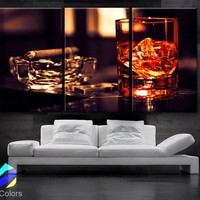 "LARGE 30""x 60"" 3 Panels Art Canvas Print Beautiful Glass whisky ice cigar Wall home office decor interior (Included framed 1.5"" depth)"
