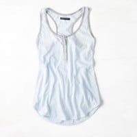 AEO Shimmer Trim Henley Tank, Swan Blue | American Eagle Outfitters