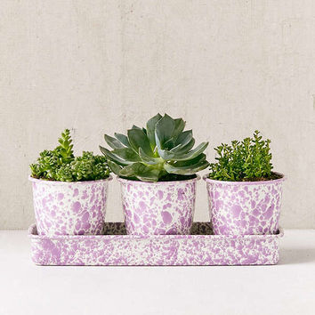 Speckled Planter Set + Tray | Urban Outfitters