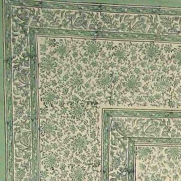 Block Print Tapestry Cotton Floral Tablecloth Rectangle Green Beige Bed sheet