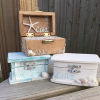 Beach Theme Wedding Ring Wood Box