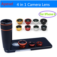 Apexel Camera Phone Lense with 12X Zoom Telephoto Lens+ Wide Angle & Macro+ Fisheye Fish eye Lens with Cover for iPhone 6