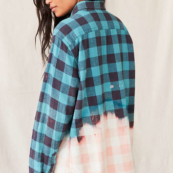 Urban Renewal Recycled Bleach Dipped Flannel Top - Urban Outfitters