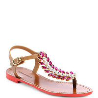 Feather Jeweled T-Strap Sandals