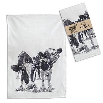 Happy Cows Tea Towel - Box of 4