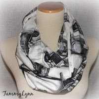 Antique Camera Scarf Black and White Infinity Scarf Photography Cotton Blend Infinity Scarf Photographer Accessories