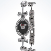 Disney Parks Minnie Mouse Rhinestone Oval Bezel Bow Watch New with Case