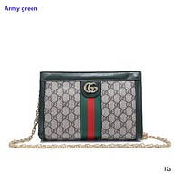 """Gucci"" classic fashion casual wild hit color striped small square bag Messenger bag shoulder bag Army green"