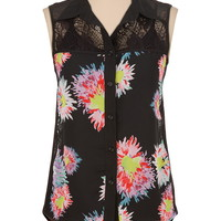 high-low floral chiffon top with lace