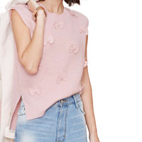 Sleeveless Side Slit Bowknot Knit Top