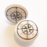 """Nautical Knob Drawer Pulls, White Color, Handmade Antique Style Compass Cabinet Knobs, 1.5"""" Beach Birch Dresser Knobs, Made To Order"""