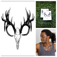 Elk - temporary tattoo (Set of 2)