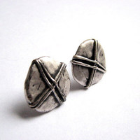Antiqued Silver Button Earrings - Rustic Circular Stud Earring with Textured Cross