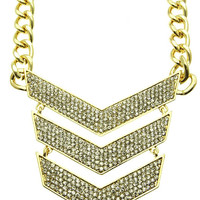 NECKLACE / CHEVRON / LINK / METAL / METAL CHAIN / CRYSTAL STONE / 3 1/2 INCH DROP / 16 INCH LONG / NICKEL AND LEAD COMPLIANT